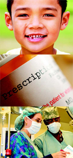 Welcome to PIPSQC - image of a boy, medication bottle, doctors, nurses picture